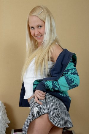 Nice ash-blonde teenage with pointy jugs loves having a meaty shaft in her..